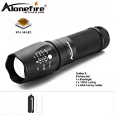 AloneFire X800 with Cree XP-L V6 T6 LED Tactical Flashlight Bike Zoom able Spotlight Lamp Lantern Camping Torch Use Battery Type AAA and 18650 Battery
