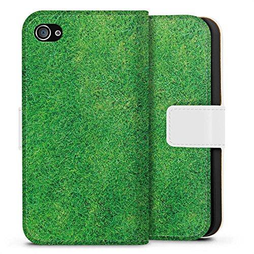 Apple iPhone X Silikon Hülle Case Schutzhülle Gras Rasen Grashalme Sideflip Tasche weiß