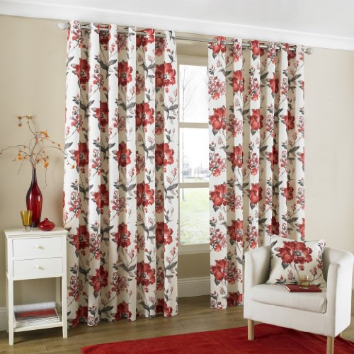 One pair of Tokyo Eyelet header Curtains in Red, Size: 66×90 (168 x 229 cm) width x drop