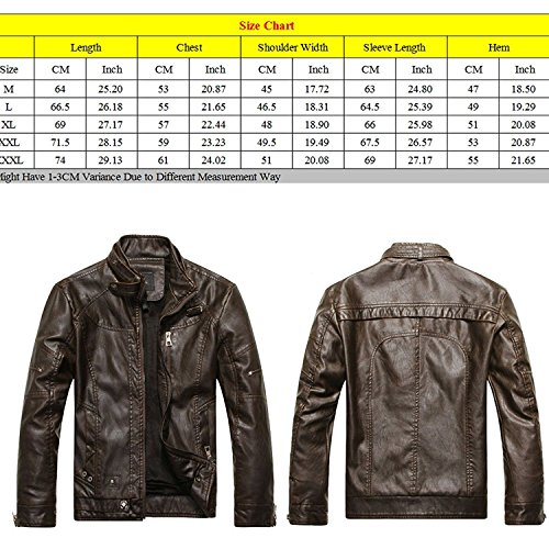 Zhuhaitf Fashion Cool Mens PU Leather Jackets Outerwear Stand Collar Plus Velvet Moto Rider Jackets Coats yellow