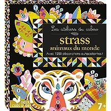 Les ateliers du calme - strass animaux du monde - mini boite avec accessoires: avec 1200 décorations autocollantes