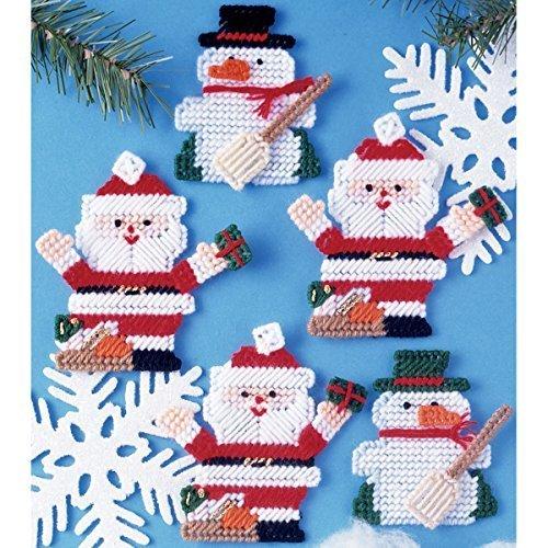 Santa & Snowman Ornaments Plastic Canvas Kit-7 Count by Tobin -