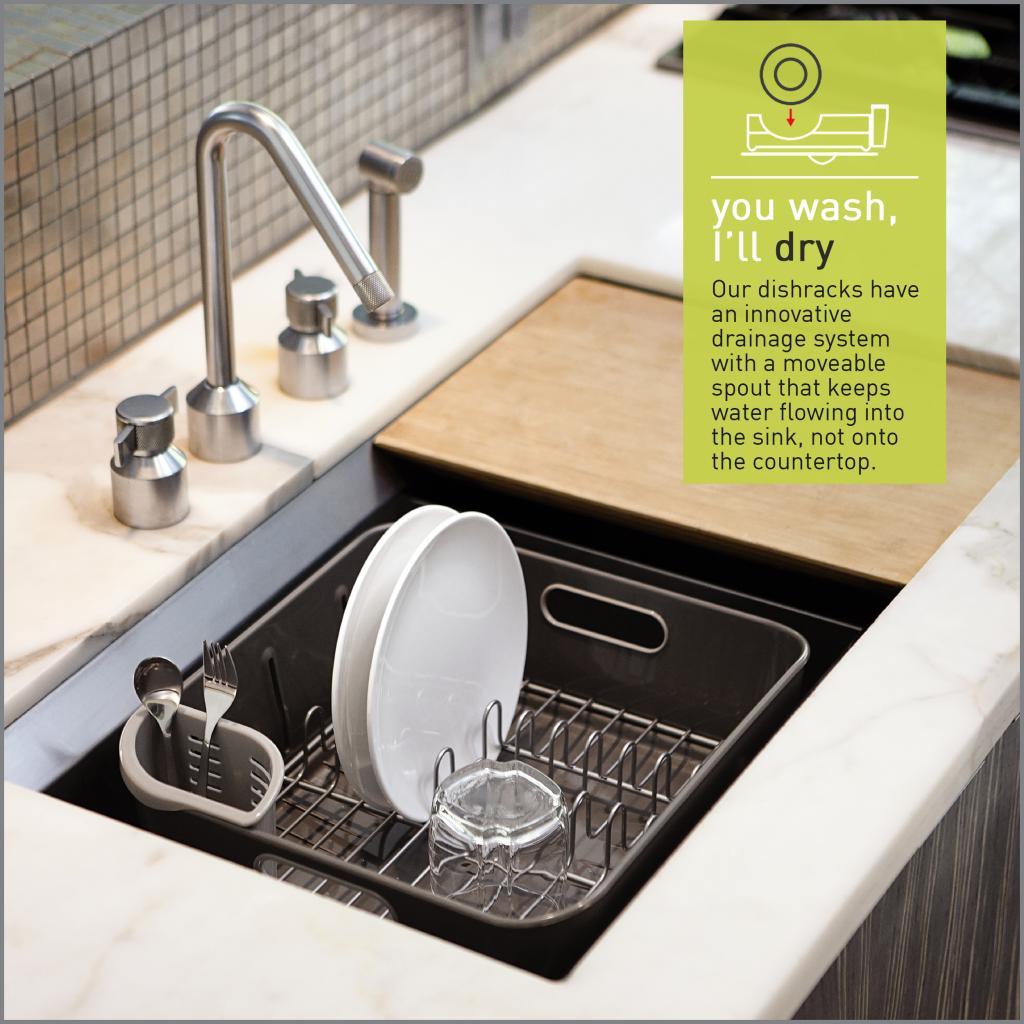 Kitchen Sink Drain Rack Simplehuman Plastic Compact Dishrack Grey Amazoncouk Kitchen