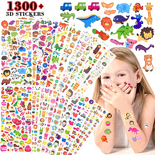 UtopiaLee Stickers 20 Different Sheets Kids & Toddlers Puffy Sticker Mega Variety Pack by Purple Ladybug Novelty - 1300+ 3D Puffy Stickers for Kids