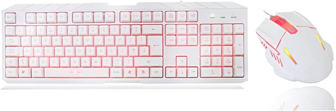 CiT Storm Tastatur und Maus mit Roter LED-Beleuchtung, Weiß/Rot