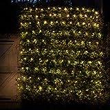 Lights4fun 140er LED Lichternetz warmweiß dunkelgrünes Kabel 31V Timer