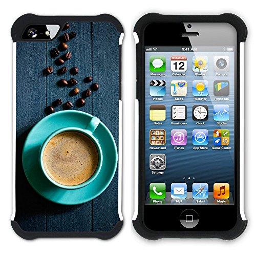 Graphic4You Kaffee Tasse Koffein Hart + Weiche Kratzfeste Hülle Case Schale Tasche Schutzhülle für Apple iPhone SE / 5 / 5S Design #2
