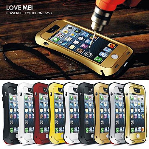 Love Mei Aluminium Legierung Metall Shock/Wasser Proof Gorilla Glas Schutzhülle für Apple iPhone 55S 5G All Black