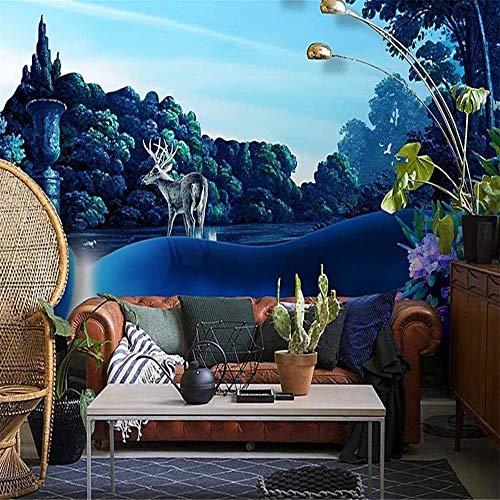 Preisvergleich Produktbild zyyaky Papier peint 3D Luxe Papier peint cerf forêt 3D murale Salon paysage Papier peint murale
