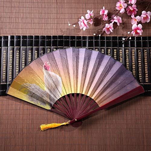 EIJODNL Kinder japanische Fans schönen großen Schwanz in Tweet mit Bambusrahmen Quaste Anhänger und Stoffbeutel Fan Bambus Hand Fan Bunte Papierhand Fans
