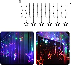 Quace 12 Stars 138 LED Window Curtain Colour Changing String Lights with 8 Flashing Modes, Multicolour