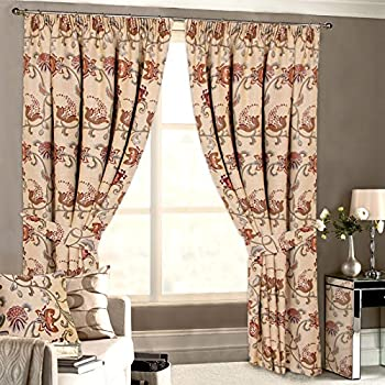 Oh Ring Top Chenille Curtains Red 90 X 108 Drop Kitchen Home