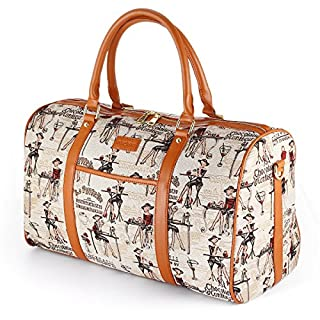 Women Oversized Canvas Holdall,AIZBO Travel Carry On Duffel Bags PU Leather Trim Overnight Weekend/Weekender Satchel Totes Bag Shoulder Handbags for Girl,Ladies