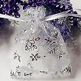 100 pcs 7 x 9 cm Sacchettini in organza sacchetti regalo coulisse sacchetto sacchetti Argento Fiocchi di neve bianco stampato Sheer sacchetti festa