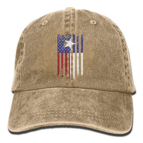 e9ef3559f63 Unisex Adult USA Texas American Flag Washed Denim Retro Cowboy Style Baseball  Hat Sun Cap Trucker