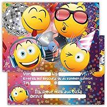 12 Lustige Einladungskarten Im Set Für Kindergeburtstag Party Mit Emoji  Smiley Disco Für Jungen Mädchen Kinder