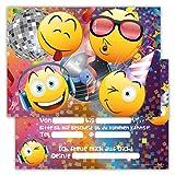 Einladungskarten für Kindergeburtstage für Jungen oder Mädchen (Emojis in der Disco, 12 Stück im Kartenset)