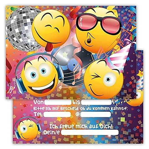 12 Lustige Einladungskarten im Set für Kindergeburtstag Party Emoji Smiley Disco für Jungen Mädchen Kinder Top Geburtstagseinladungen Karten
