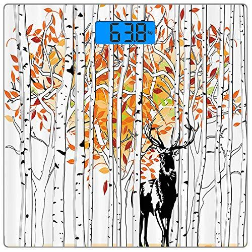 Präzisions-Digital-Körpergewichtswaage Deer Ultra Slim Gehärtetes Glas Personenwaage Genaue Gewichtsmessungen, Deer im Wald Herbstfarben Bäume Laub Wildnis Saisonale Kunstwerke, Lila Blau - Wildnis Blau
