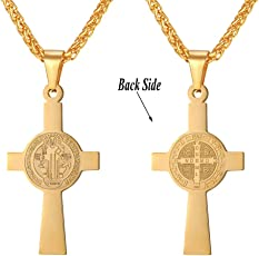 U7 Men's Catholic Gift Jewelry 18K Gold Plated Saint St Benedict Medal Rosary Cross Pendant Necklace with Chain
