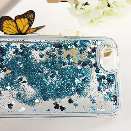 ISAKEN iPhone 5S Hülle,iPhone 5 Hülle,iPhone 5S Case,Hard Hülle für iPhone 5S 5,Kreativ Design Liquid Fließen Flüssig Schwimmend Stern Bling Luxus Shiny Glanz Sparkle Kristall Glitzer Crystal Clear Ha Love Blau