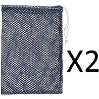 "Champion 12x18"" Heavy Duty Nylon Mesh Equipment Bag w/ Drawstring Navy (2-Pack)"