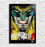 X Men Angry Wolverine Marvel Comics - Quadro Pop-Art Originale con Cornice, Dipinto, Stampa su Tela, Poster, Locandina