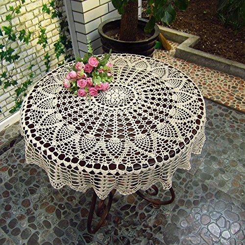 ustide handgefertigt Häkel Baumwolle Tischdecke Spitze Deckchen rund beige Crochet Tischdecken für Hochzeit Deko rund Baumwolle Tischdecke Floral Tischdecke 78,7cm, baumwolle, beige, 31.4 inch