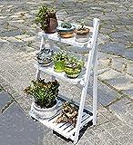 ZENGAI Blumenständer Kiefernholz Fußboden 3 Etagen Leiter Bonsai Pflanzen Ausstellungsstand Gartenarbeit Regal, 3 Größe (Farbe : Weiß, größe : 70cm)