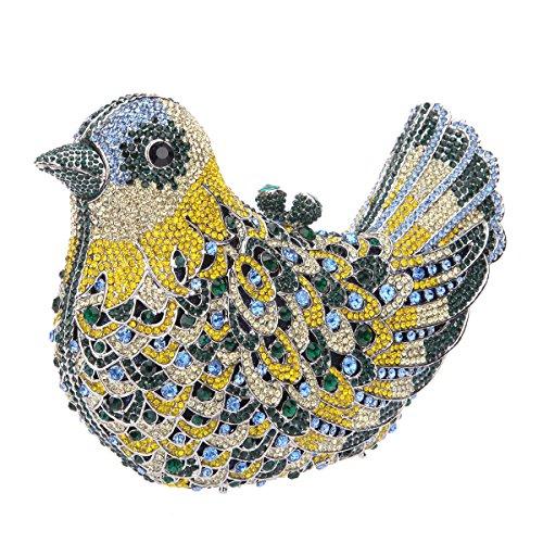 Bonjanvye Glitter Rhinestone Bird Clutch Purses Evening Clutch Bag for Girls Orange dark green