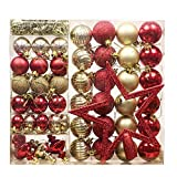 Valery Madelyn Christmas Bauble Ornaments, 30-100mm Luxury Red Gold Infrangibile Xmas Tree Ball Decorations, String Pre-Tied (60 Pezzi)