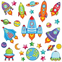 THE ULTIMATE SPACE WALL STICKERS & ROCKET WALL STICKERS COLLECTION, M4 TheOriginal Rock16.M, Medium Glossy 100cm by 25cm Vinyl, 28-Piece Rocket Ship Set, Multi Color, Futuristic Outer Space Rockets, Space Shuttle Ships, Stars, Solar System Planet Shaped Sticker Styles.