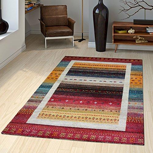 T&t design tappeto gabbeh loribaft con bordature nomadi motivo classico rosso crema colorato, größe:80x150 cm