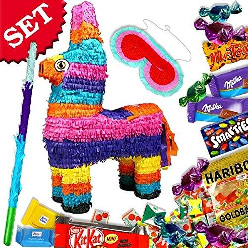 Preisvergleich Produktbild Pinata-Set bunter Esel, mit Pinata, Keule, Augenmaske und Süßigkeitenfüllung,...