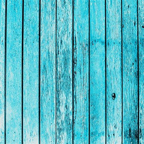 YongFoto 1,5x1,5m Vinyl Foto Hintergrund Holzoptic Distressed Holz Vintage HolzHolz Brett Der Blauen Farbe Fotografie Hintergrund für Photo Booth Baby Party Banner Kinder Fotostudio Requisiten