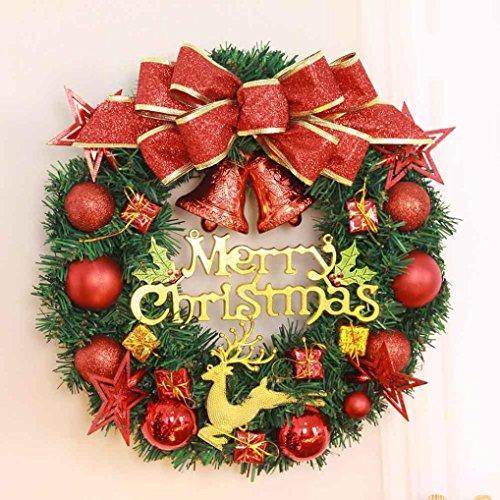 (Huhu833 Weihnachten Dekorationen Weihnachten große Kranz Tür Wand Ornament Girlande Dekoration rot Bowknot 40CM (A))