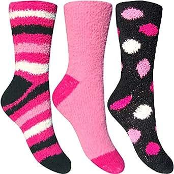 Women's Fluffy Stripes & Polka Dot Co-Zee Thermal Socks (3 Pair Pack) (Black Cherry Sundae)