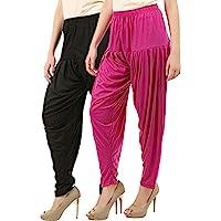 Buy That Trendz Women's Cotton Viscose Lycra Dhoti Patiyala Salwar Harem Bottoms Pants Black Maroon Combo Pack of 2