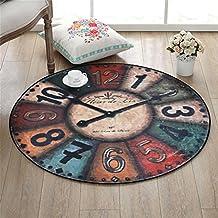 LiuXTaO Redondo Alfombra Para Sala de Estar Dormitorio Cama Cabecera Hogar Grande Silla Moqueta Reloj de Pared Patrón Creativo Retro Estilo ( Color : #3 , Tamaño : 100cm )