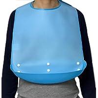 Silikon Lätzchen für Erwachsene mit Auffangschale Wasserdicht Abwaschbar Blau Kleidungsschutz Lätzchen für ältere Männer…