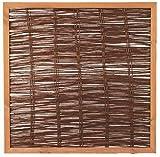 Unbekannt Weidenzaun Weidengeflecht Sichtschutz Sichtblende mit Holzrahmen Cordoba (120 x 120 cm)