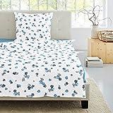 Irisette Bettwäsche Single-Jersey weiß-blau Größe 135x200 cm (80x80 cm)
