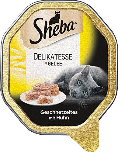 Sheba Schale Delikatesse in Gelee Geschnetzeltes mit Huhn, 85 - Napf Hühner Futter
