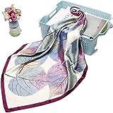 La Ferani Lussuoso foulard di seta da 90 x 90 cm, sciarpa da donna con motivo autunnale di colore viola, ideale per il lavoro