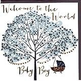 """Bellybutton Designs Paloma Carte de vœux de naissance """"Baby Boy avec film gravé et cristal. Une Carte originale et de qualité pour naissance, aussi pour chèque cadeau ou argent cadeau. bb304"""