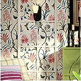 DACHENZI Tapete Schlafzimmer Wandverkleidung Moderne Vintage Rosa Blumentapete Blue Tropical Butterfly Flower Wall Paper