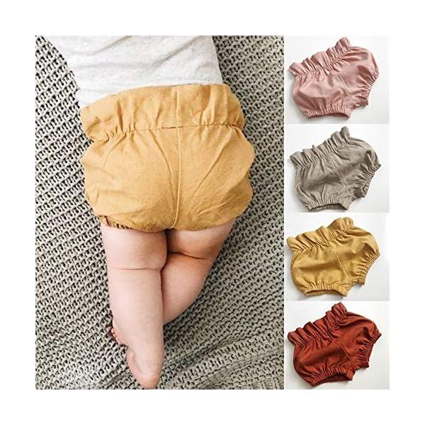 FELZ Pantalones Corto Bebé Niños Niñas, Verano Pantalones Cortos Fruncidos Color sólido Ropa de Playa, bebés de 3 Meses… 3