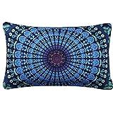 "Indexp Mandala Printing Rectangle Pillowcase Indian Bohemian Cushions Floor Pillows Cover(11.8x19.7"") (Style G)"