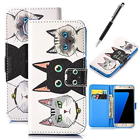 GrandEver Wallet Case for Samsung Galaxy S7 Edge PU Leather Cover Three Cats Pattern Flip Folio Case Bookstyle Stand Shell Full Body Soft Silicone Back Cover Design Galaxy S7 Edge Cell Phone Holster Accessory with Credit Cards Slots Magnet Closure Rubber Gel Incase Anti-Drops Dustproof Protective Shell for Samsung Galaxy S7 Edge + Stylus Pen