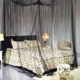 FDS COSTWAY Moskitonetz Betthimmel Mückennetz Baldachin Bettdekoration 220x200x210cm schwarz